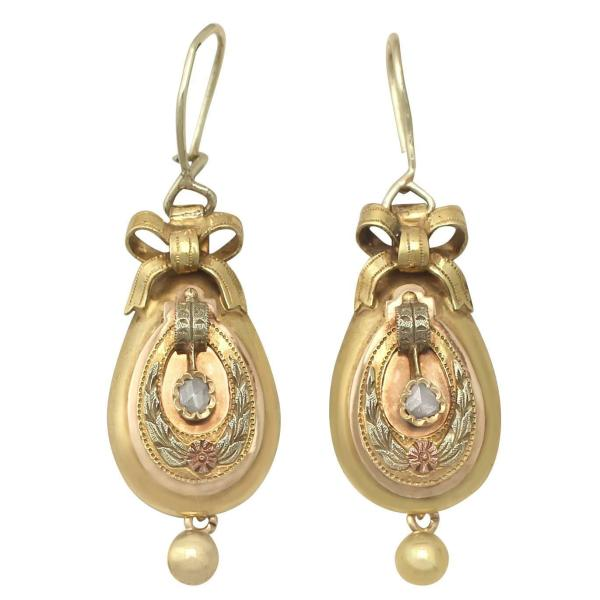 0.12 Ct Diamond and 14k Yellow Gold Drop Earrings ...
