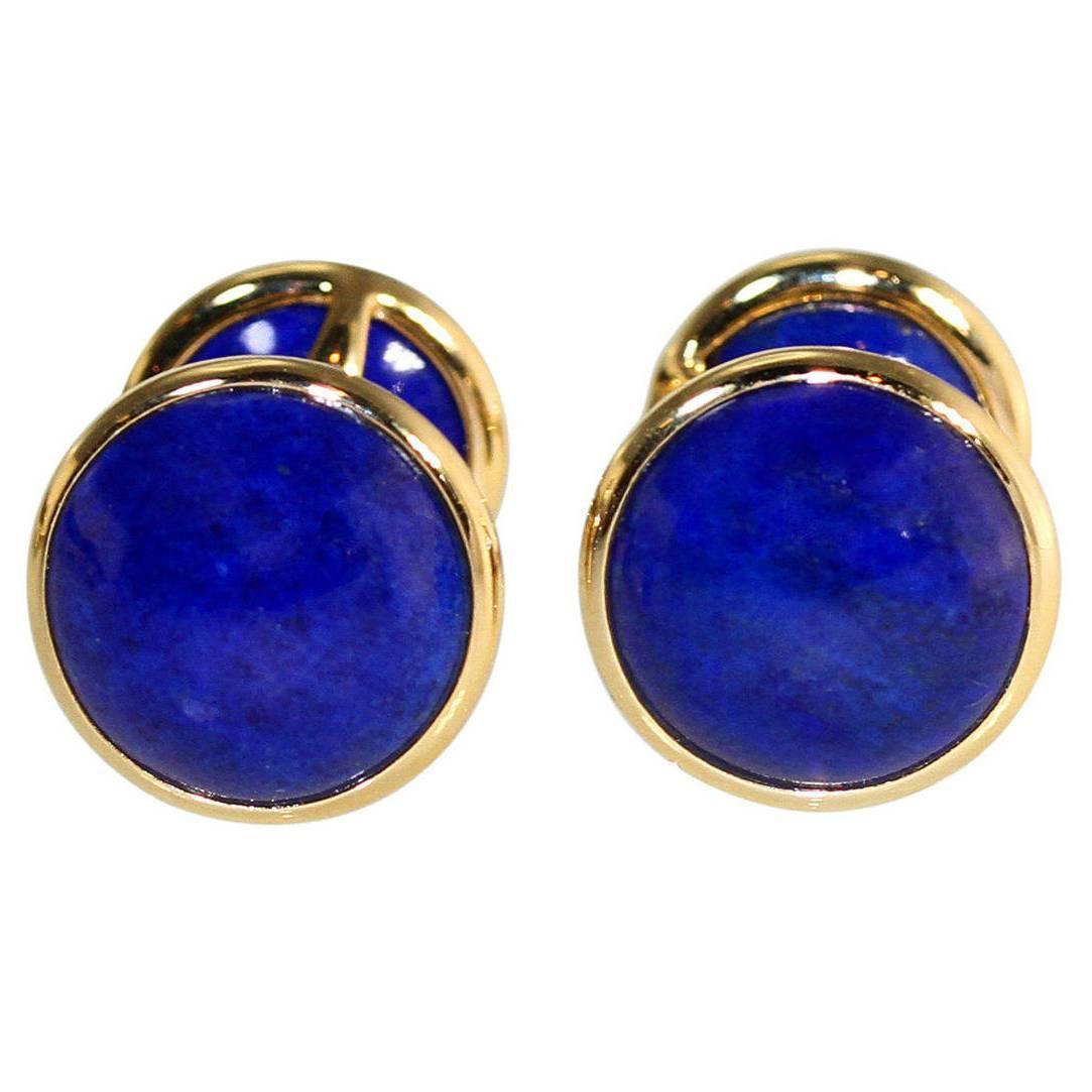 Tiffany And Co Elsa Peretti Lapis Lazuli Gold Cufflinks