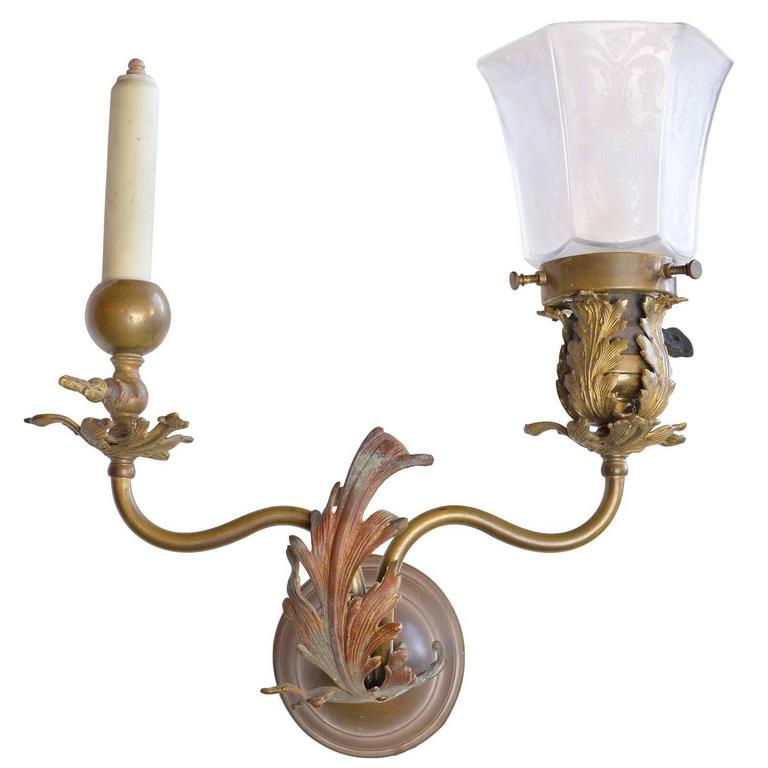 1890's Victorian Gas Electric Brass Sconce For Sale at 1stdibs on Brass Wall Sconces Non Electric Lighting id=89572