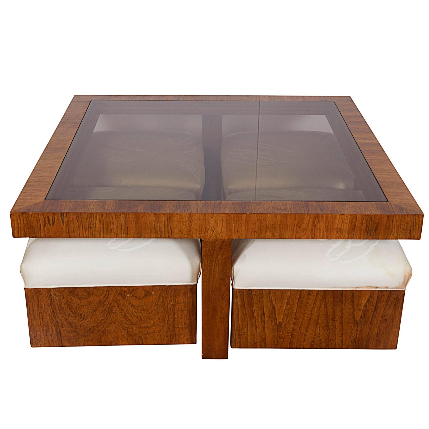 drexel consensus collection glass top cocktail table with four ottomans