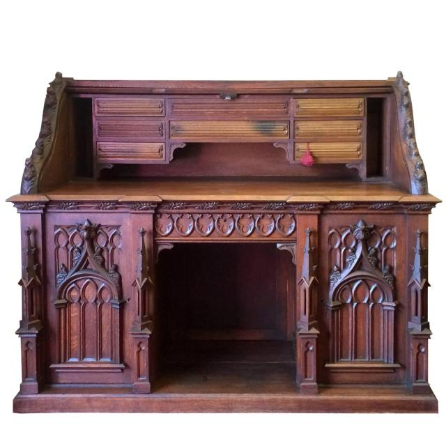 Amazing Gothic Roll Top Desk with Hidden partments at 1stdibs
