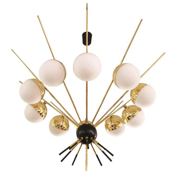 Large Brass Chandelier By Gcme Italy 1960s For