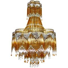 Italian Art Deco Nouveau Amber And Clear Beaded Glass Murano Chandelier