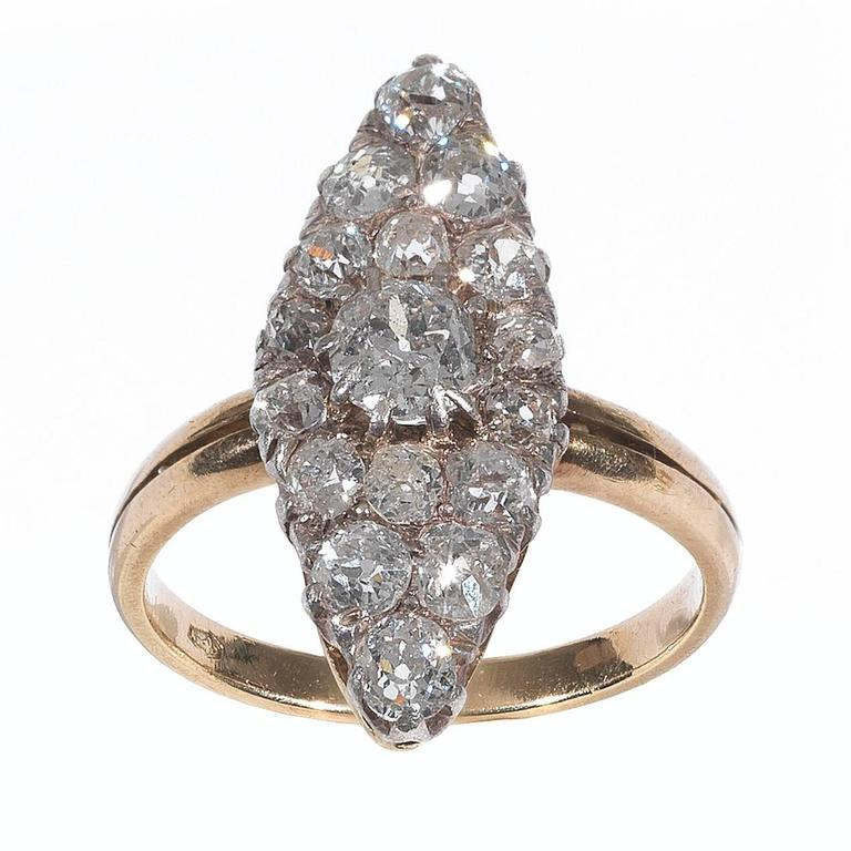 Antique Diamond Silver Gold Cluster Ring For Sale At 1stdibs