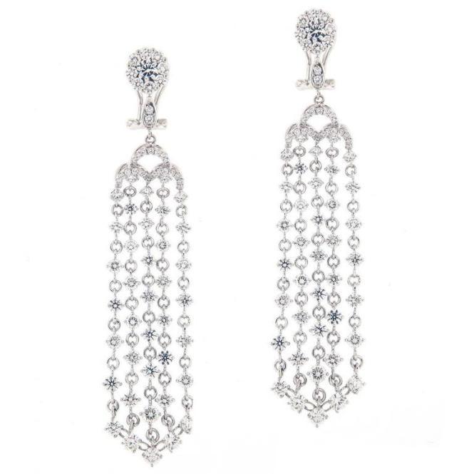 Campanelli Pear Diamond Chandelier Drop Earrings For