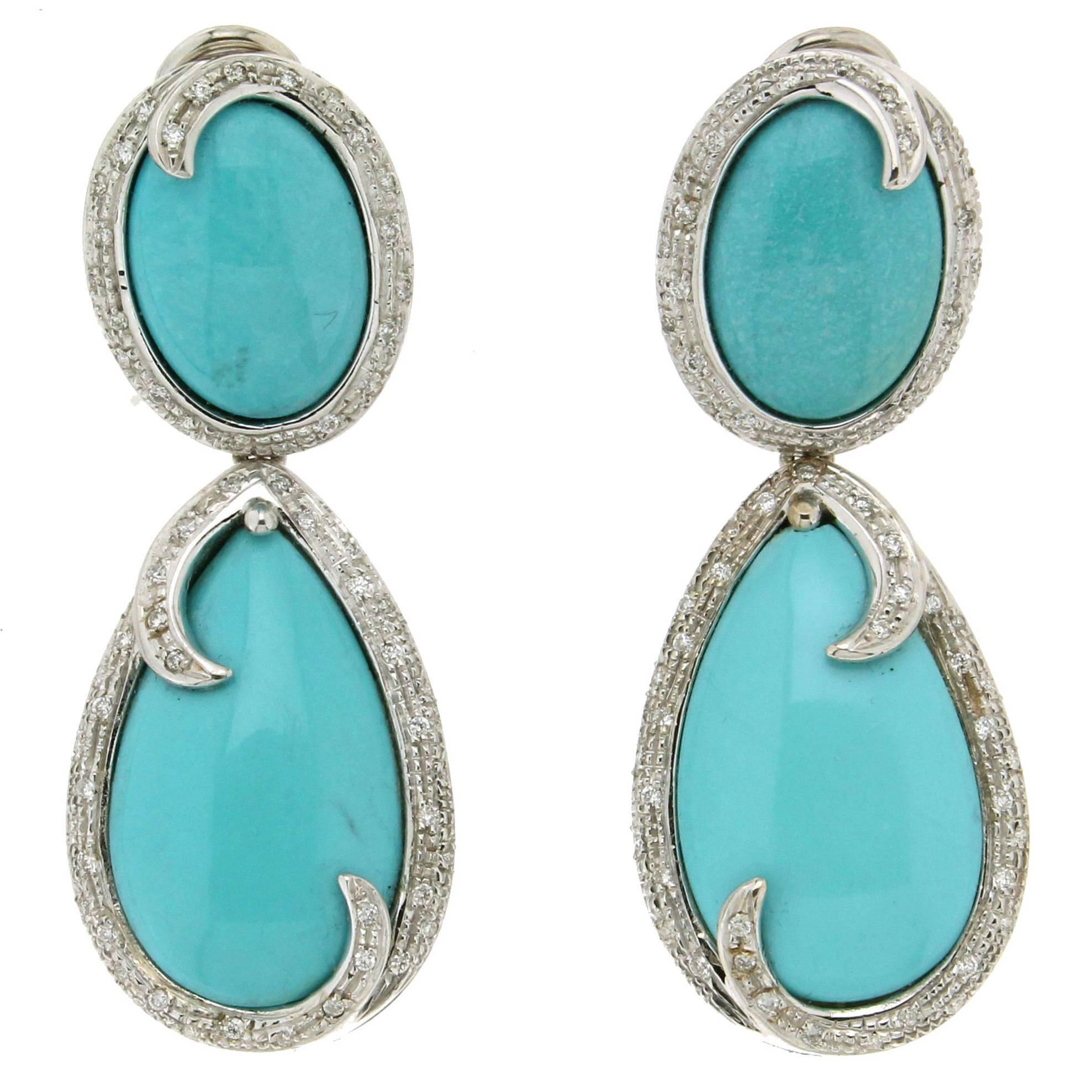 Turquoise White Gold Diamonds Drop Earrings For Sale at ...