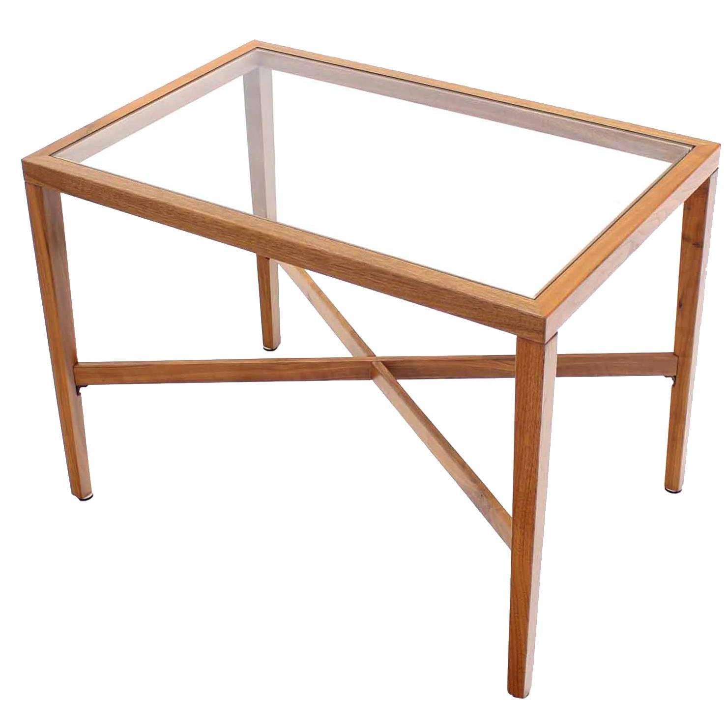 X Base Rectangular Side End Table With Glass Top At 1stdibs