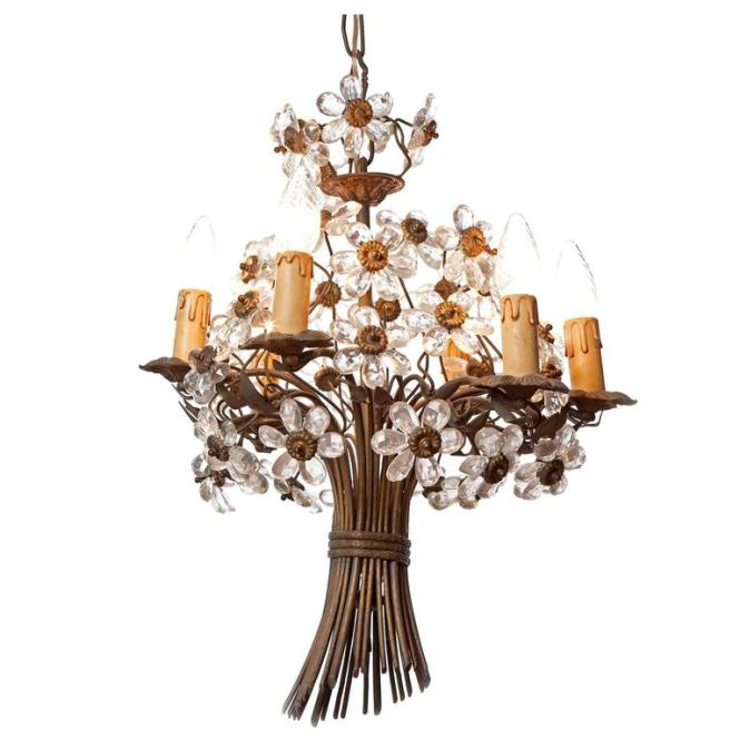 1920s Maison Baguès Six Light Bronze And Crystal Flower Chandelier For
