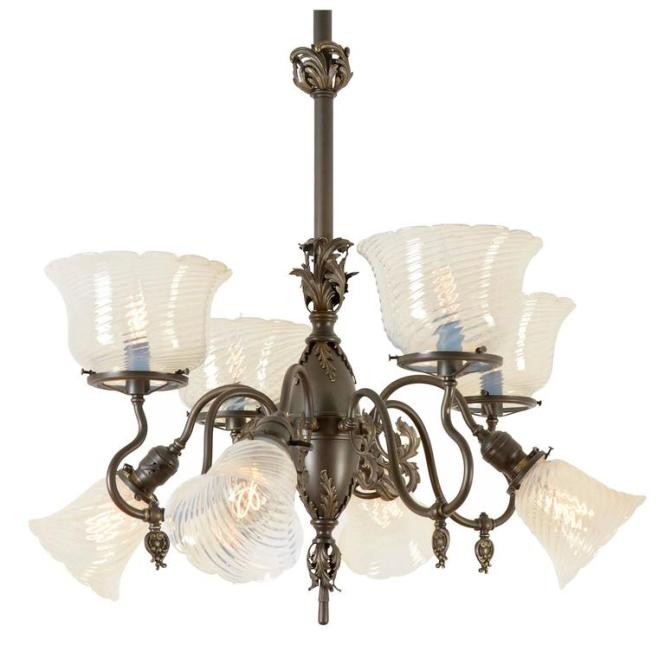 Rococo Gas Electric Chandelier With Opalescent Shades Circa 1900 1