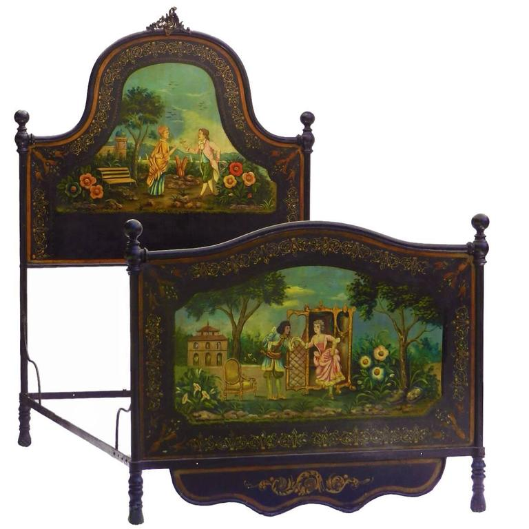French Bed Daybed Napoleon III Hand Painted Tole Iron Epoque Mother Of Pearl For Sale At 1stdibs