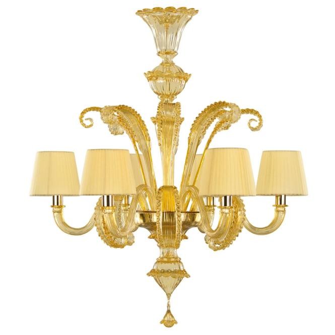 Exquisite Italian Deco Style Murano Glass Chandelier Honey Amber Lampshades For