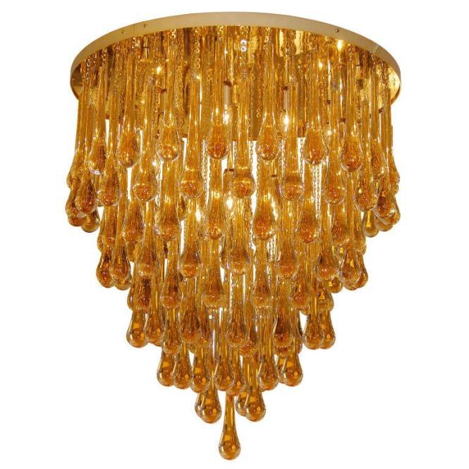 Barovier Toso Large Amber Glass Teardrop Chandelier 1