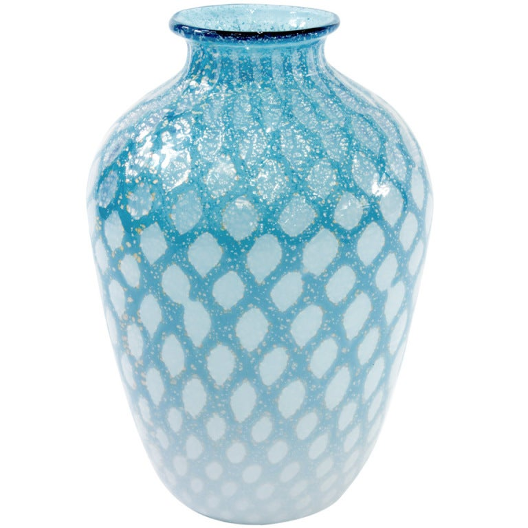 Handblown Pale Blue Glass Vase With Silver Foil Design By