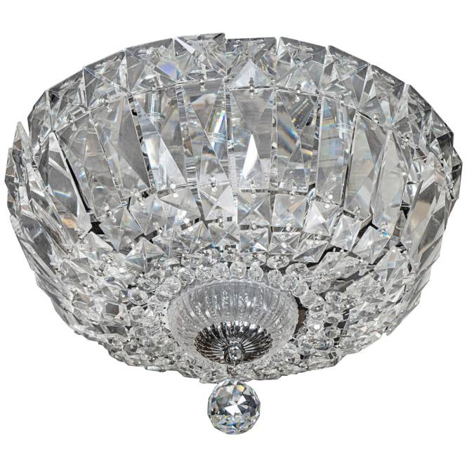 1940 S Hollywood Cut Crystal Drop Down Flush Mount Chandelier 1