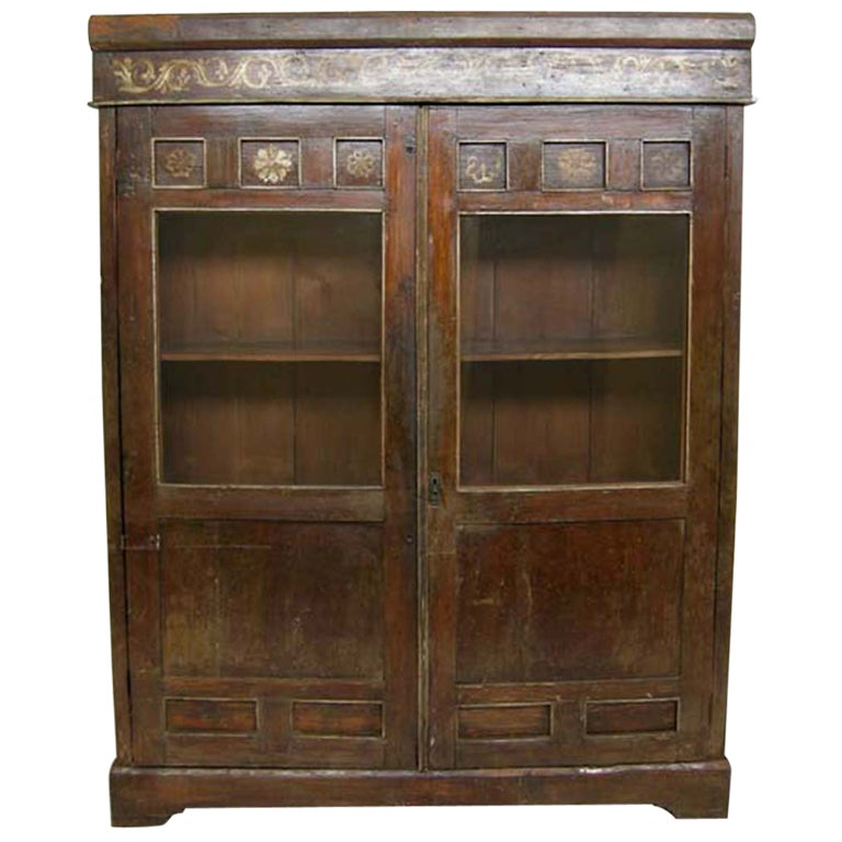 Antique Guatemalan Glass Front Cabinet At 1stdibs