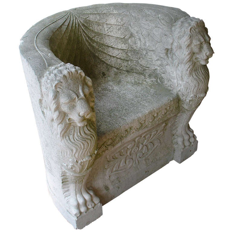 Roman Carved Stone Throne Chair At 1stdibs