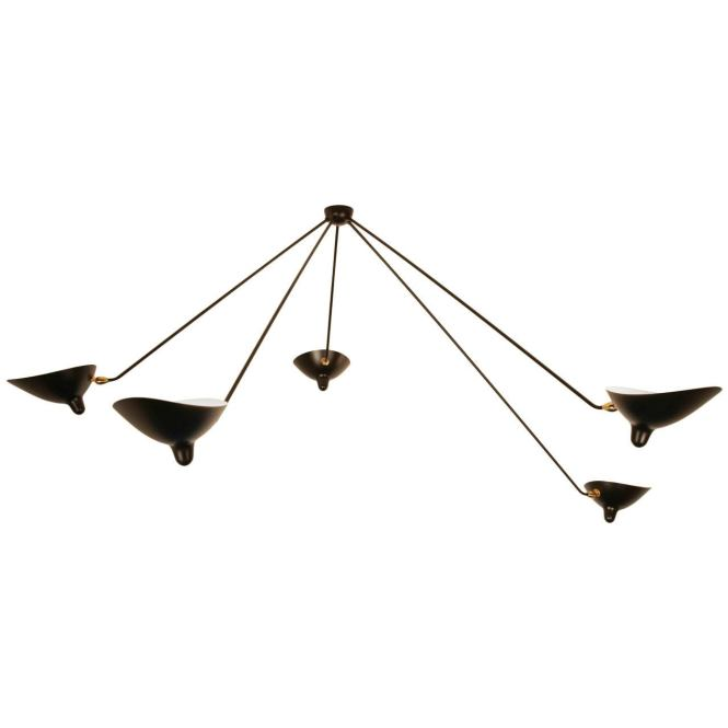 Serge Mouille Spider Ceiling Lamp With Five Arms For
