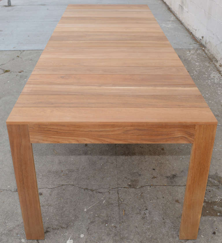 Custom Outdoor Dining Table In Teak Expandable For Sale