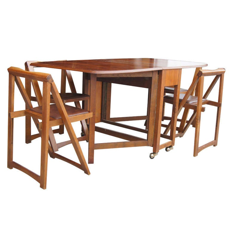 Vintage 68 Quot Wood Folding Dining Table With Four Chairs Set