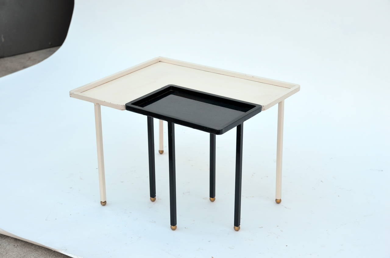 Small Black And White Lacquered Metal Side Table In The