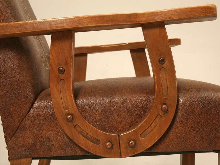 Original Vintage Cowboy Ranch Oak Armchair WHorseshoe