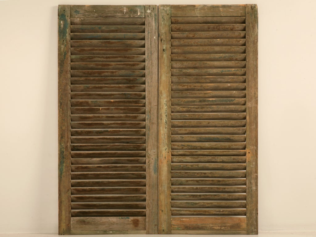 Great Pair Of Antique English Original Paint Window Shutters
