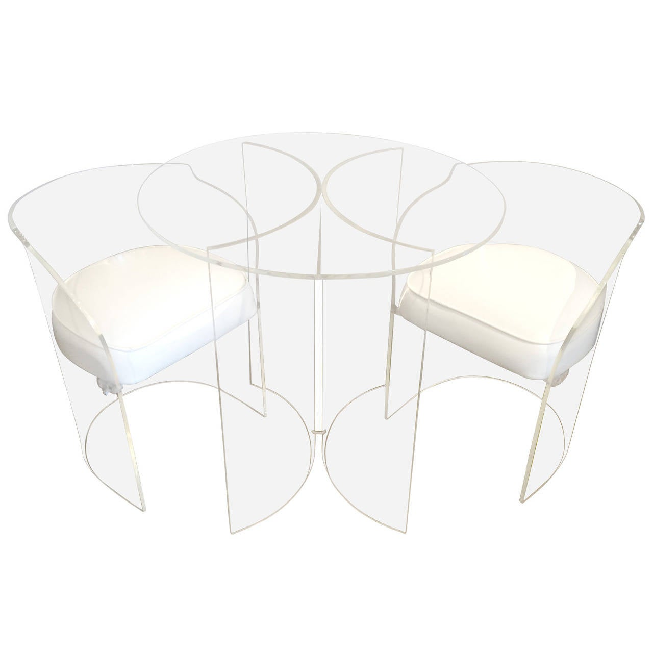 Lucite Set Of Table And Chairs At 1stdibs