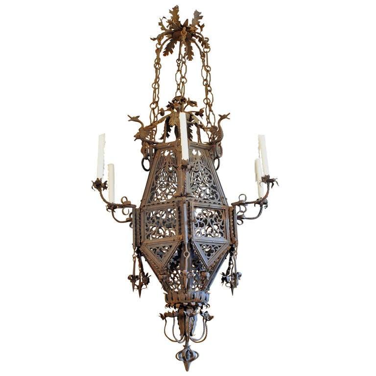 Large Italian Baroque Style Wrought Iron 7 Light Lantern