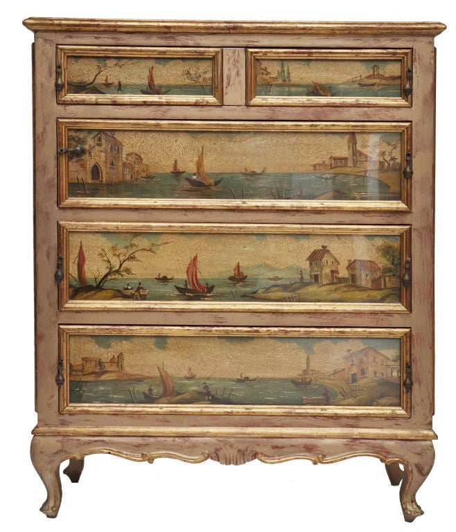 Italian Hand Painted Chest Of Drawers At 1stdibs
