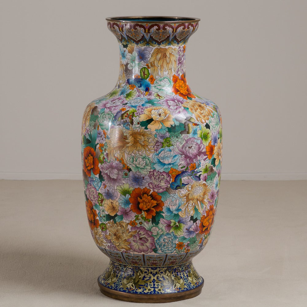 Large Early 20th Century Chinese Cloisonn Vase Circa
