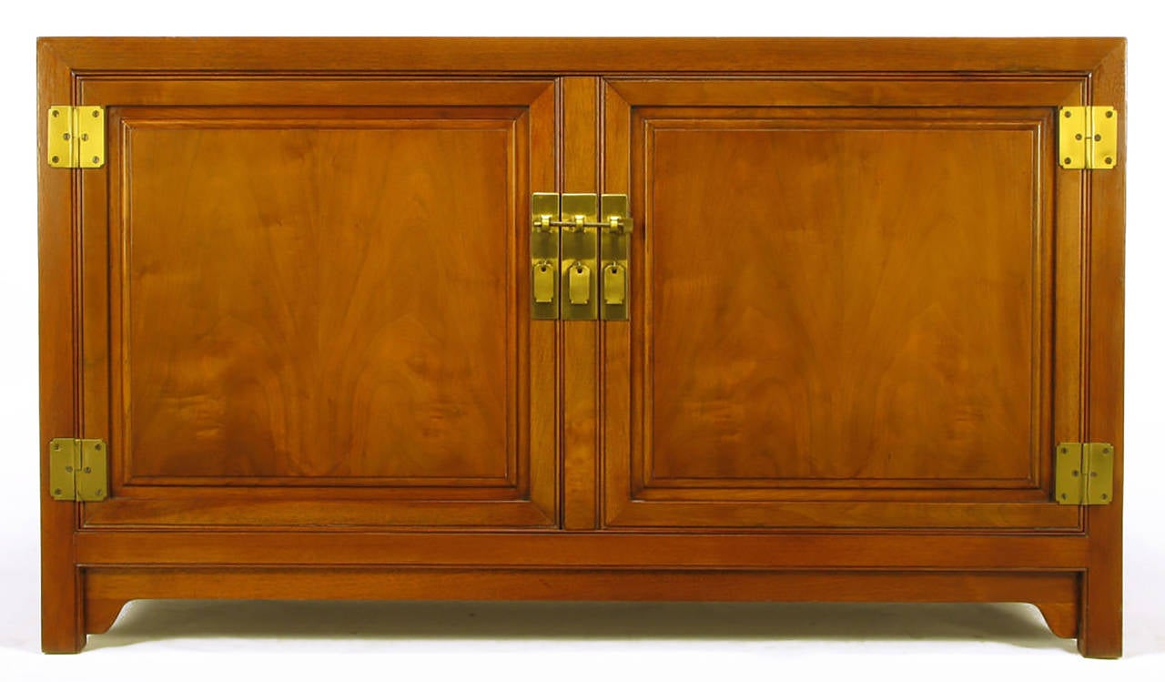 Baker Figured Walnut Sideboard Cabinet With Heavy Brass