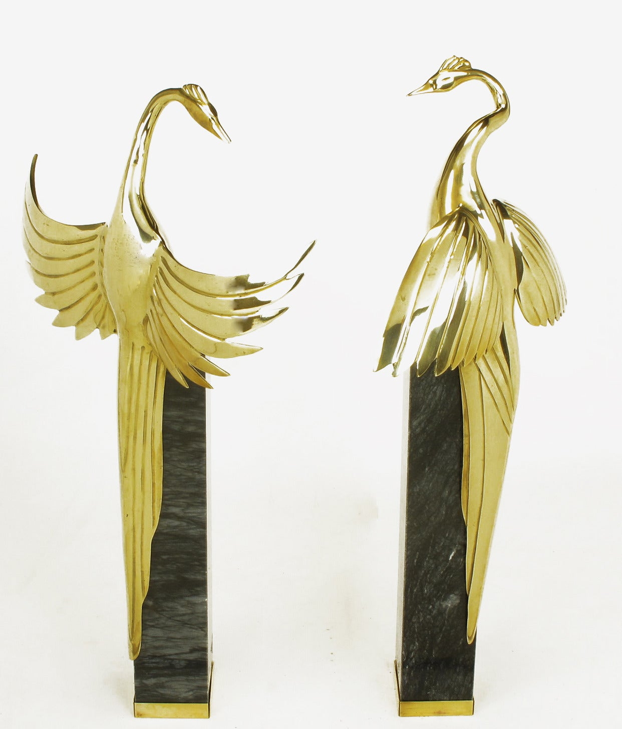 Pair Of Marble Pedestal And Brass Crane Sculptures For