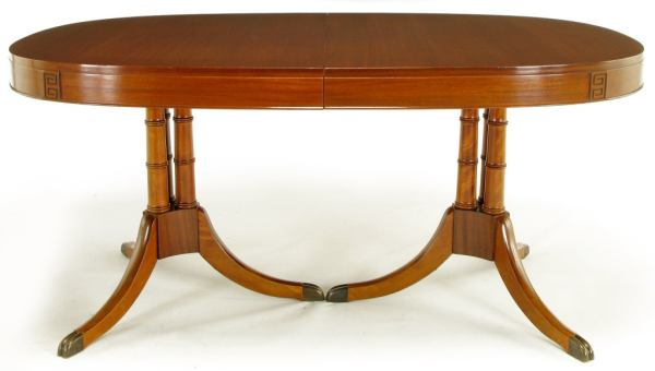 dining tables for sale Double Pedestal Sheraton Style Mahogany Dining Table For