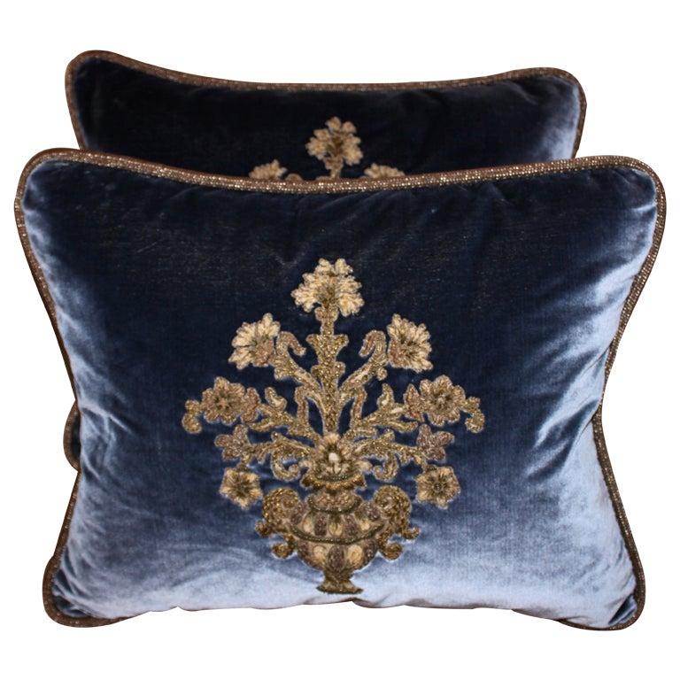Blue Appliques Pillows
