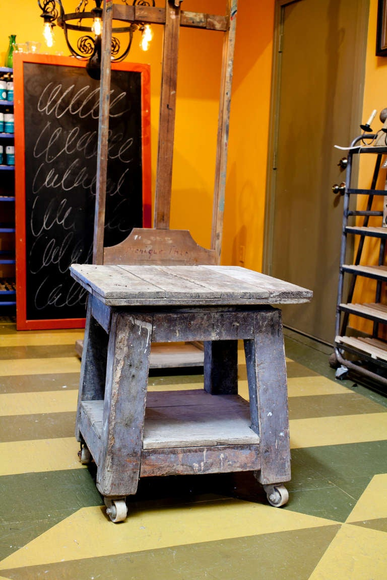 Antique French Potters Wooden Cart On Wheels For Sale At