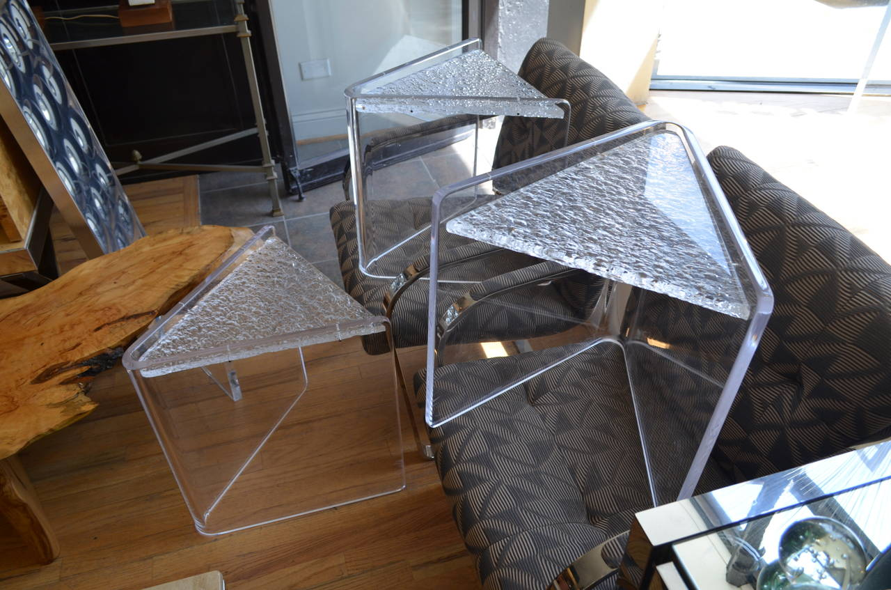 Set Of Three Lucite Nesting Tables For Sale At 1stdibs