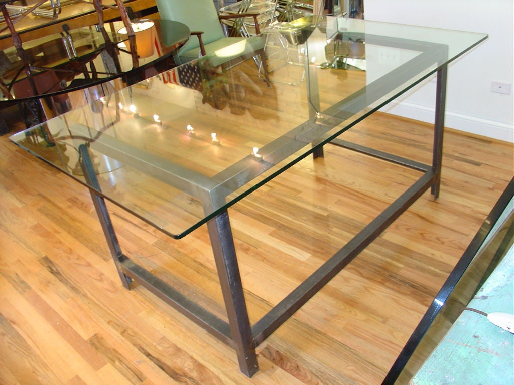 Glass Top Industrial Table Or Desk At 1stdibs