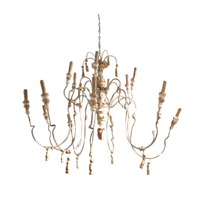 18th Century Style Wood And Iron French Chandelier For