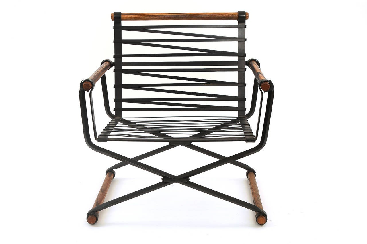 Cleo Baldon Iron And Oak Lounge Chair At 1stdibs
