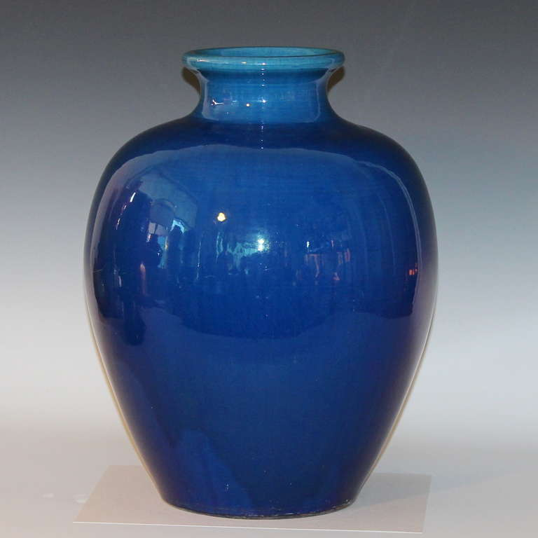 Large Antique Kyoto Pottery Blue Monochrome Vase At 1stdibs