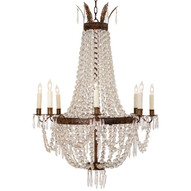 Beautiful French Empire Crystal And Bronze Chandelier 1