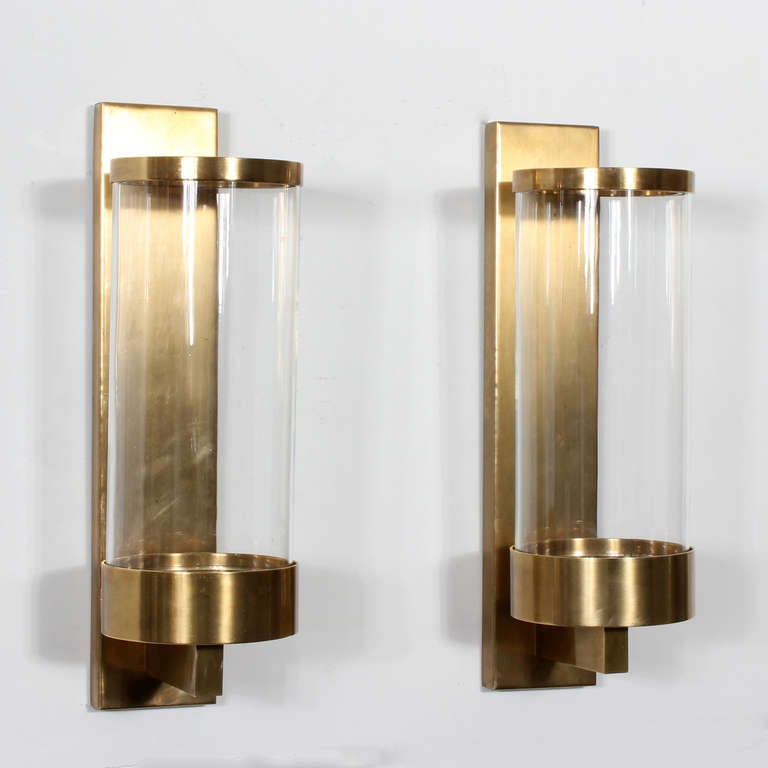 Pair of Modern Cylinder Glass and Brass Wall Sconces at ... on Wall Sconces Modern id=15186