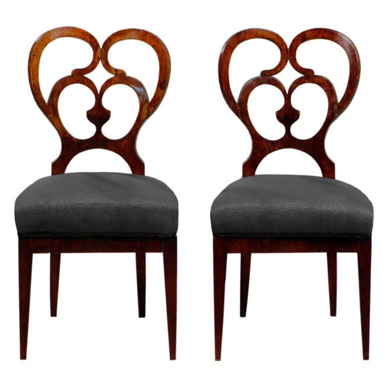 Looped Walnut Biedermeier Chairs At 1stdibs