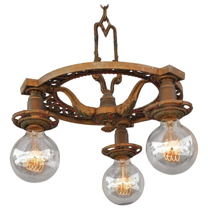 1920s Down Light Chandelier With Three Bulbs 1