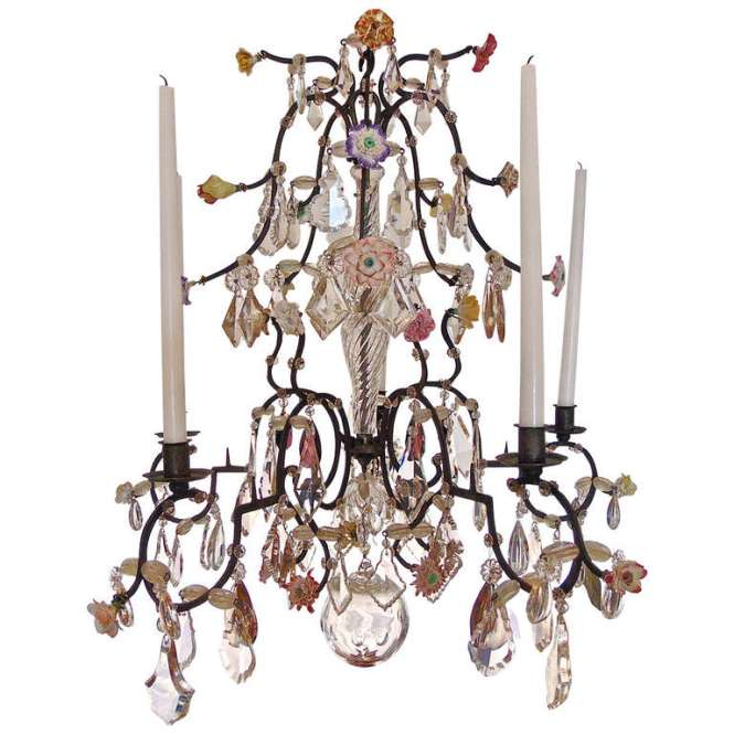 18th Century Five Light French Provincial Chandelier With Porcelain Flowers For