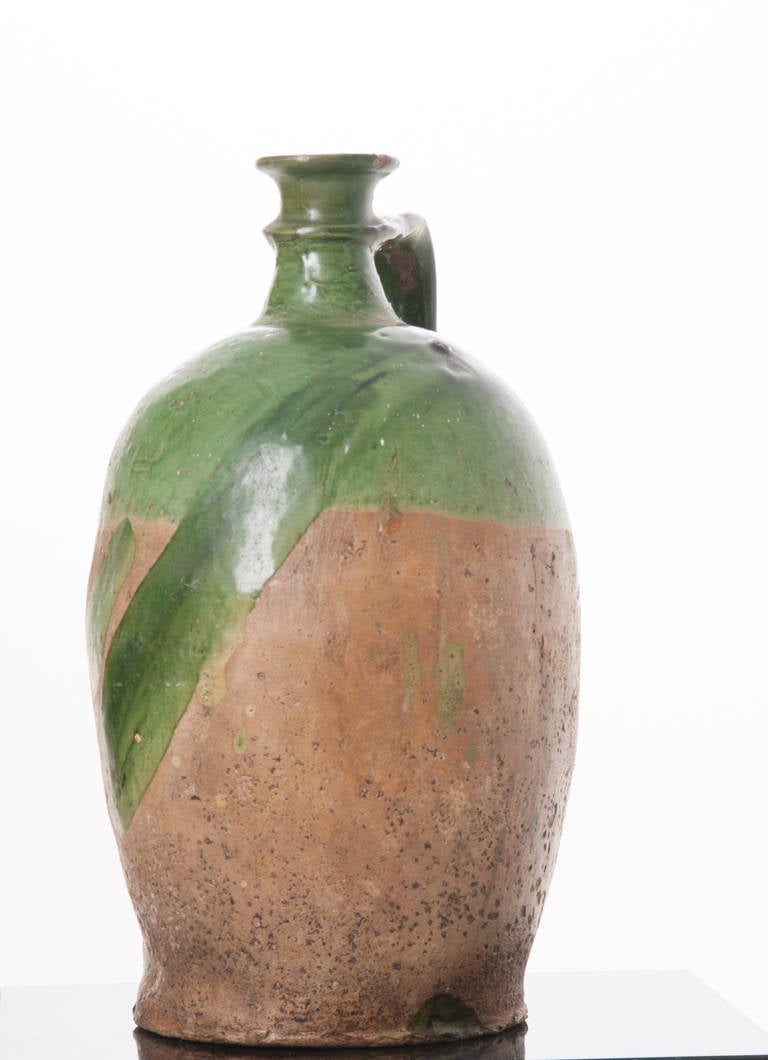 French 19th Century Green Glazed Oil Jar At 1stdibs