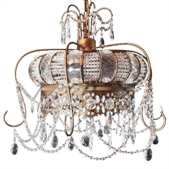 Rare Belle Epoch Chandelier In Form Of Crown Crystal And Brass 1