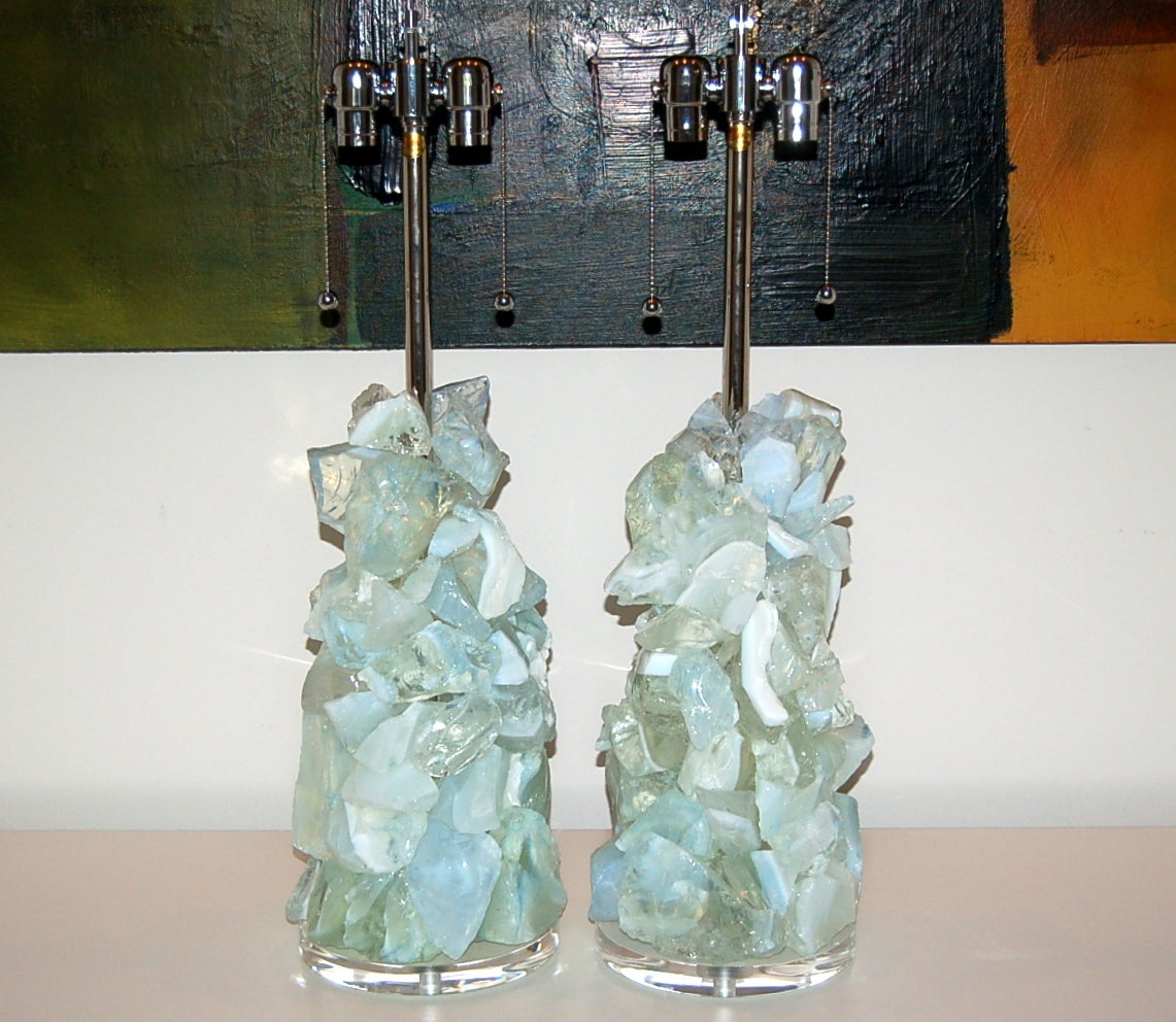 White Opaline Rock Candy Lamps By Swank Lighting For Sale At 1stdibs