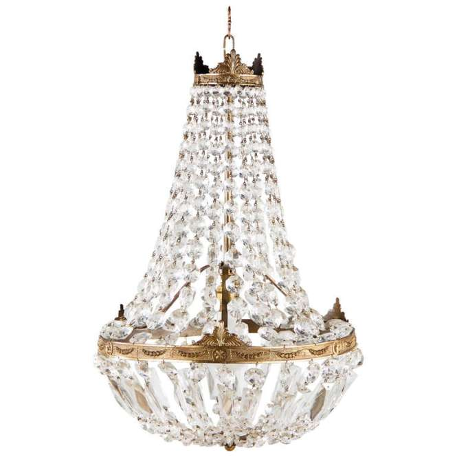 French Empire Style Montgolfier Crystal Chandelier 1920s For