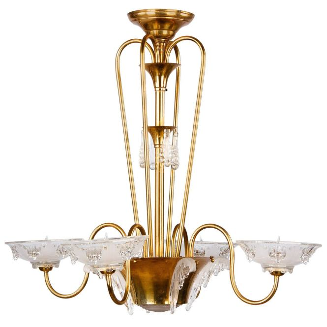 French Art Deco Icicle Glass Chandelier By Ezan